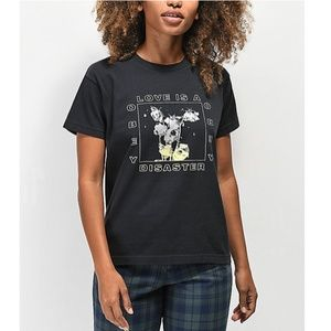 OBEY Love is a disaster black graphic tee shirt S